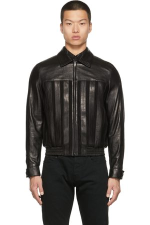 Saint Laurent Men Leather Jackets - Suede Striped Jacket