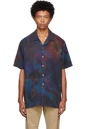 Paul Smith Men Short sleeves - Navy Oil Slick Short Sleeve Shirt