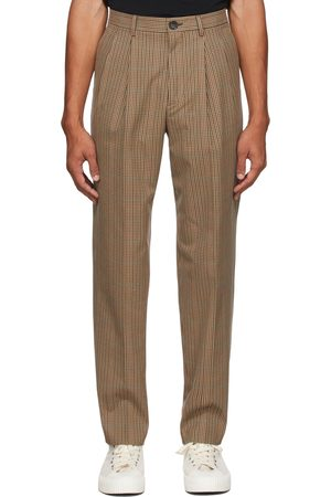 Paul Smith Men Pants - Brown Check Pleated Trousers