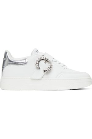 Jimmy Choo Women Sneakers - White Leather Osaka Lace Up Sneakers