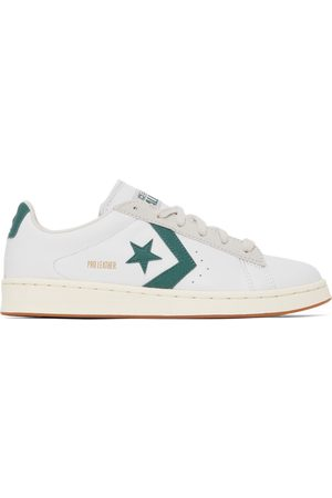 Converse Men Sneakers - White & Green Leather Pro Low-Top Sneakers