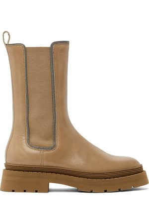 Brunello Cucinelli Women Chelsea Boots - Tan Leather Embellished Chelsea Boots