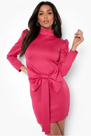 Boohoo Women Party Dresses - Womens Scuba High Neck Bow Detail Mini Dress - - 4