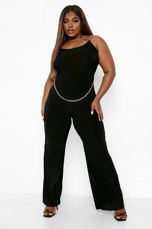 Boohoo Women Jumpsuits - Womens Plus Slinky Chain Belt Jumpsuit - - 12