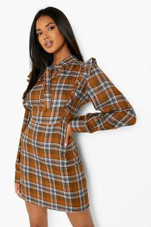Boohoo Women Casual Dresses - Womens Pussybow Frill Detail Flannel Dress - - 4