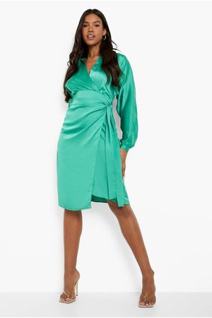 Boohoo Womens Satin Wrap Midi Shirt Dress - - 4