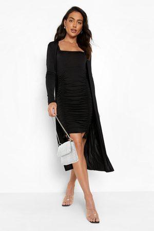 Boohoo Women Party Dresses - Womens Slinky Ruched Mini Dress & Midi Duster - - 4