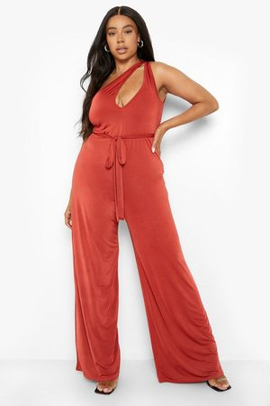 Boohoo Women Jumpsuits - Womens Plus Slinky Cut Out Belted Jumpsuit - - 12