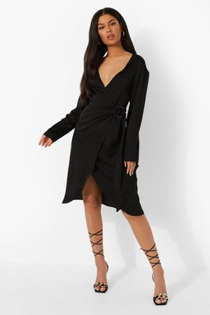 Boohoo Women Casual Dresses - Womens Satin Wrap Midi Shirt Dress - - 4