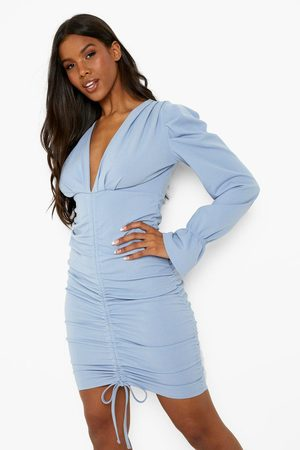 Boohoo Women Party Dresses - Womens Rouched Plunge Puff Sleeve Mini Dress - - 4