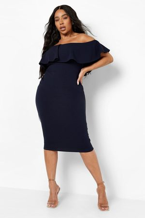 Boohoo Women Strapless Dresses - Womens Plus Off Shoulder Ruffle Midi Dress - - 12