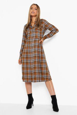 Boohoo Women Casual Dresses - Womens Flannel Midi Shirt Dress - - 4