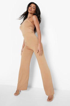 Boohoo Womens Slinky Racer Neck Wide Leg Jumpsuit - - 4