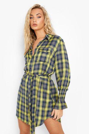Boohoo Womens Belted Elastic Cuff Flannel Shirt Dress - - 4