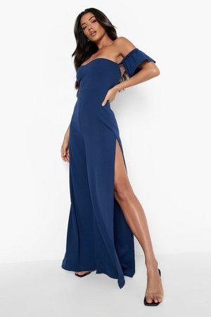Boohoo Women Jumpsuits - Womens Off The Shoulder Gathered Sleeve Wide Leg Jumpsuit - - 4
