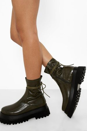 Boohoo Womens Wrap Around Chunky Sock Boot - - 5