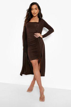 Boohoo Womens Slinky Ruched Mini Dress & Midi Duster - - 4