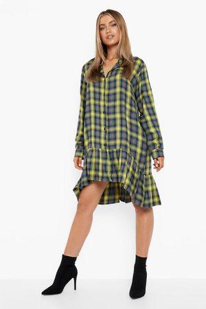 Boohoo Womens Flannel Frill Hem Shirt Dress - - 4