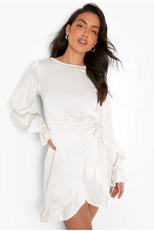Boohoo Womens Satin Frill Sleeve Ruffle Mini Dress - - 4
