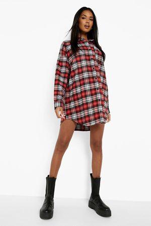 Boohoo Womens Oversized Flannel Shirt Dress - - 4