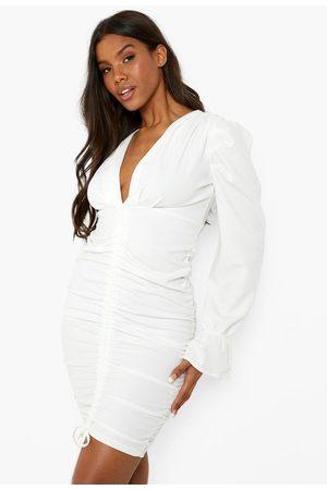 Boohoo Womens Rouched Plunge Puff Sleeve Mini Dress - - 4