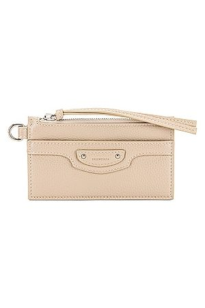 Balenciaga Neo Classic Card Case on Keychain in Taupe
