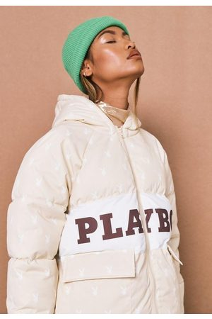 Missguided Women Puffer Jackets - Playboy X Stone Repeat Bunny Print Colorblock Puffer Jacket