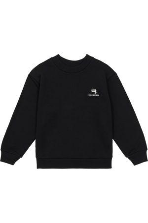 Balenciaga Sweatshirts - Logo-embroidered cotton sweatshirt