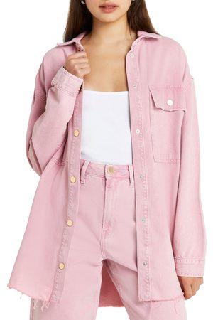 River Island Women Denim Jackets - Women's Cotton Denim Shirt Jacket