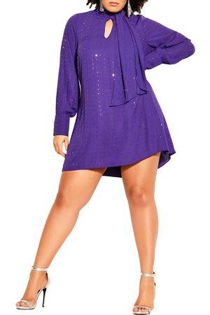 City Chic Women Tunic Dresses - Plus Size Women's Nailhead Studded Long Sleeve Tunic Dress