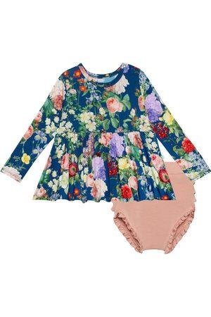 Posh Peanut Girls Tops - Infant Girl's Carmen Floral Peplum Top & Ruffle Bloomers