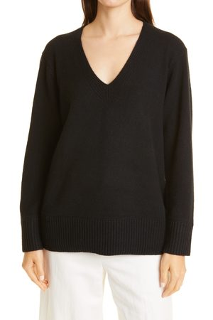 Vince Women's Ribbed V-Neck Cashmere Tunic Sweater