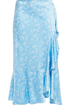 Ganni Women Printed Skirts - Woman Wrap-effect Ruffled Floral-print Silk-blend Satin Skirt Light Size 34