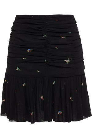 Ganni Women Printed Skirts - Woman Ruched Floral-print Georgette Mini Skirt Size 34