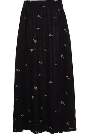 Ganni Women Printed Skirts - Woman Gathered Floral-print Georgette Midi Skirt Size 36