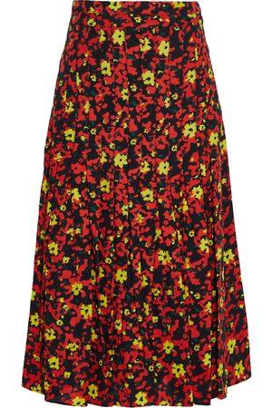Proenza Schouler Women Printed Skirts - Woman Pleated Printed Crepe Midi Skirt Tomato Size 0