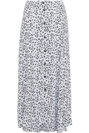 Ganni Women Printed Skirts - Woman Printed Crepe Midi Skirt Sky Size 34