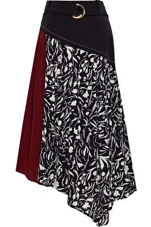 Proenza Schouler Women Printed Skirts - Woman Asymmetric Belted Printed Crepe Midi Skirt Size 10