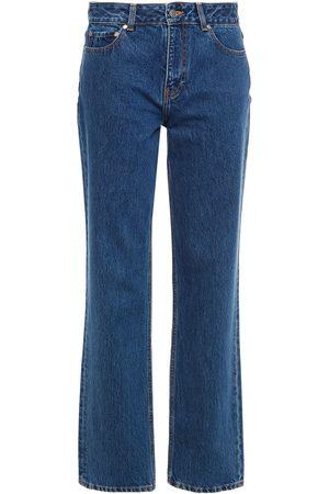 Ganni Women High Waisted - Woman High-rise Tapered Jeans Dark Denim Size 26