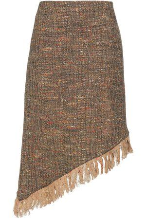 Ganni Women Midi Skirts - Woman Asymmetric Fringed Donegal Wool-blend Tweed Skirt Light Size 36