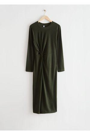 & OTHER STORIES Asymmetric Twist Midi Dress