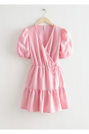 & OTHER STORIES Women Party Dresses - Puff Sleeve Mini Wrap Dress