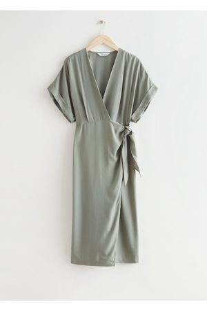 & OTHER STORIES Fold-Up Sleeve Midi Wrap Dress