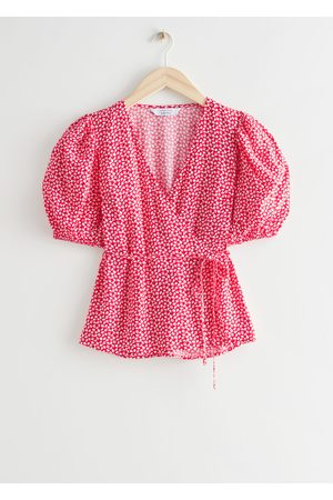& OTHER STORIES Printed Puff Sleeve Wrap Top