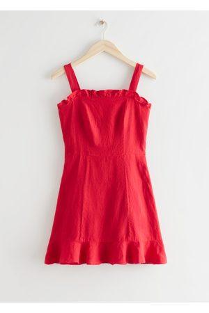 & OTHER STORIES Linen Ruffle Mini Dress