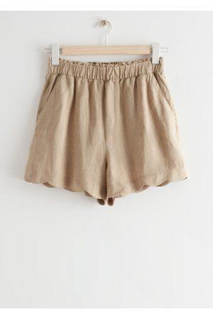 & OTHER STORIES Women Shorts - Scalloped Linen Shorts