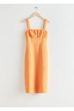 & OTHER STORIES Strappy Linen Midi Dress