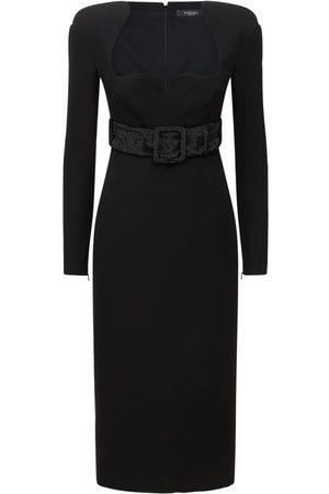 VERSACE Belted L/s Silk Cady Midi Dress