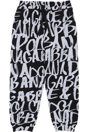 Dolce & Gabbana Boys Sweatpants - All Over Logo Print Cotton Sweatpants