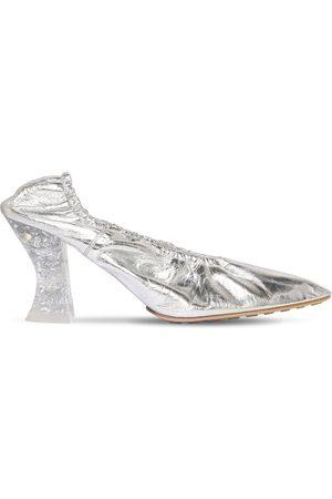 Bottega Veneta Women High Heels - 75mm Almond Metallic Leather Pumps
